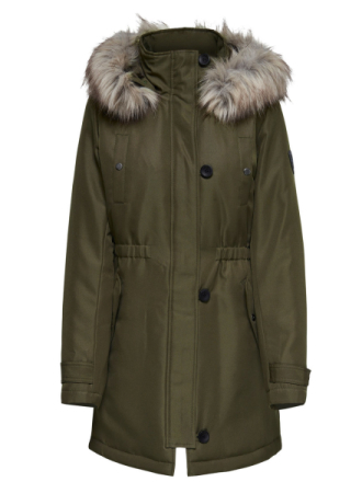 ONLY Solid Parka Coat Women Green