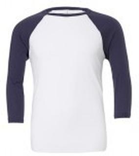 Unisex 3/4 Sleeve Baseball Tee White/Navy