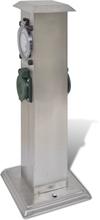 vidaXL udendørs stikkontaktstolpe med timer rustfrit stål
