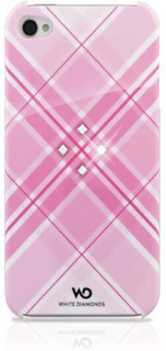 WHITE DIAMONDS Grid Pink iPhone4 inkl Crystal Pin 3,5mm