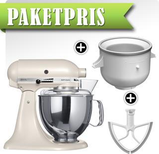 KitchenAid Artisan KSM150PSELT Pärlvit + Ice Cream Maker + Beaterblade
