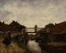 The Bridge,jacobus Hendrikus Maris,50x40cm Brun