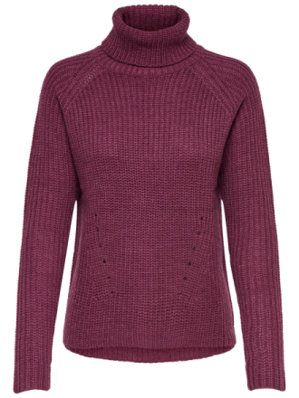 ONLY High Neck Knitted Pullover Women Red