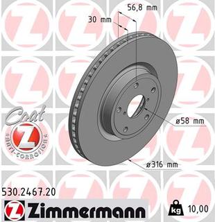Bremseskive ZIMMERMANN 530.2467.20