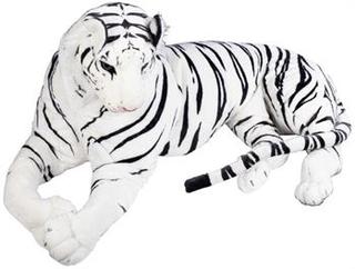 Kæmpe tiger bamse - Hvid - 150 cm lang - Stort naturtro tøjdyr med flotte detaljer