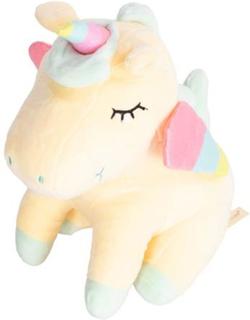 Enhjørning bamse gul - 24 cm høj - Unicorn tøjdyr. Blød og dejlig at kramme