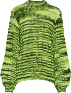 Neon Melange Knit Pullover Strikket Genser Grønn GANNI