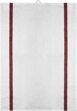 Signerat Handduk Röd bred rand 50x70 cm