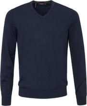 V-ringad tröja i 100% ren ny ull från MAERZ Muenchen blå