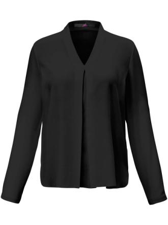 Bluse 100% silke Fra Emilia Lay sort - Peter Hahn