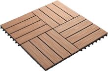 vidaXL terrassefliser dyb fremhævning 11 stk. WPC 30 x 30 cm 1 m2 lysebrun