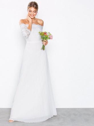 NLY Eve Off Shoulder Lace Gown Maxiklänningar Vit