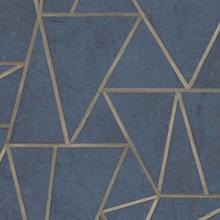 DUTCH WALLCOVERINGS Tapet trianglar petrolblå och guld