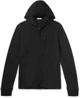 Slim-fit Cotton-blend Fleece Zip-up Hoodie - Black