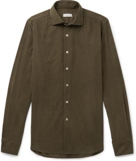 Ween Slim-fit Cutaway-collar Cotton-corduroy Shirt - Army green