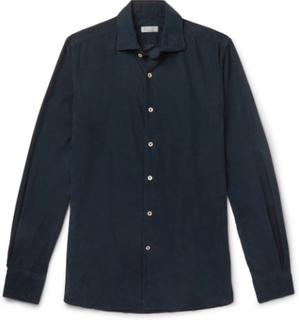 Ween Slim-fit Cotton-corduroy Shirt - Navy