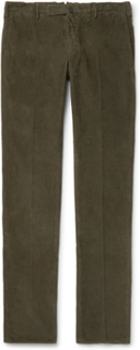 Slim-fit Garment-dyed Stretch-cotton Corduroy Trousers - Green