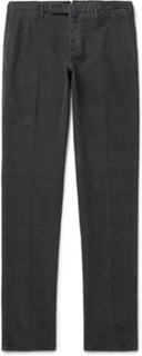 Slim-fit Garment-dyed Stretch-cotton Corduroy Trousers - Charcoal