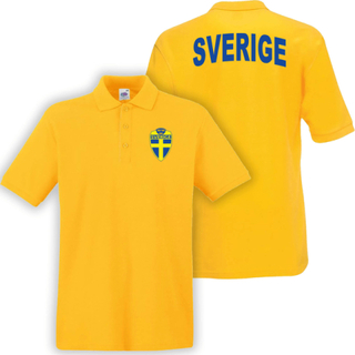 Sverige gul piké tröja - sverige logo tryck. sweden t-shirt