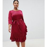 Junarose velvet wrap midi dress with frill hem in red - Red