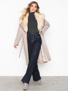 River Island Robe Fur Collar Coat Kappor Cream