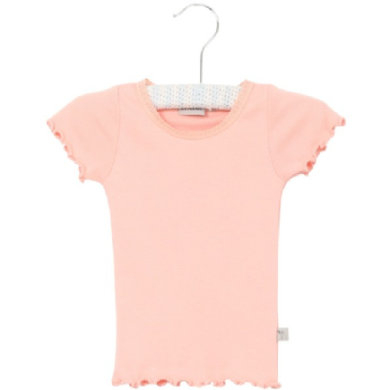 Wheat Rib T-Shirt Lace blossom - rosa/pink - Gr.fra 4 år - Pige - pinkorblue
