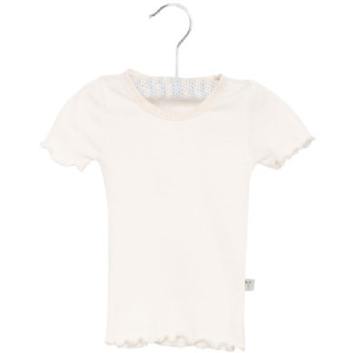 Wheat Rib T-Shirt Lace ivory - hvid - Gr.fra 3 år - Pige - pinkorblue