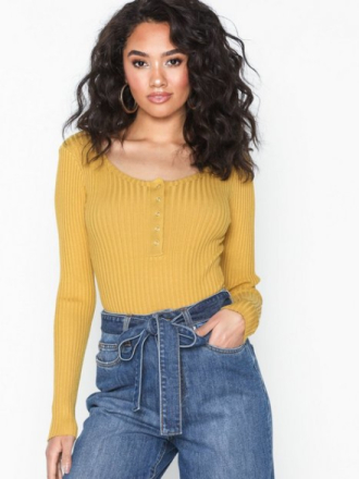 Missguided Popper Knitted Bardot Bodysuit