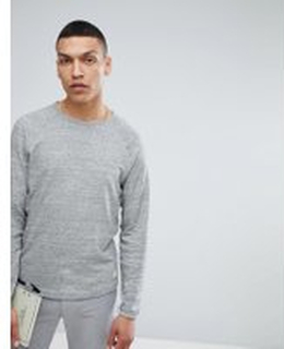 Selected Homme Long Sleeve T-Shirt With Raglan Sleeve and Curved Hem - Grey melange