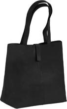 vidaXL Shoppingväska äkta läder svart
