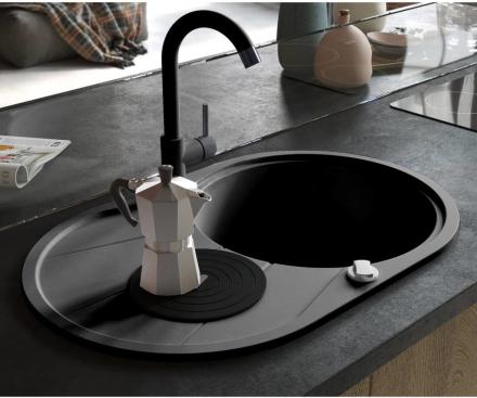 vidaXL Diskho granit enkel oval svart