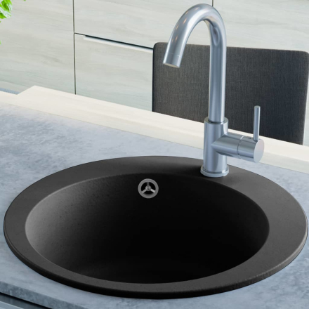 vidaXL køkkenvask i granit enkelt vask rund sort