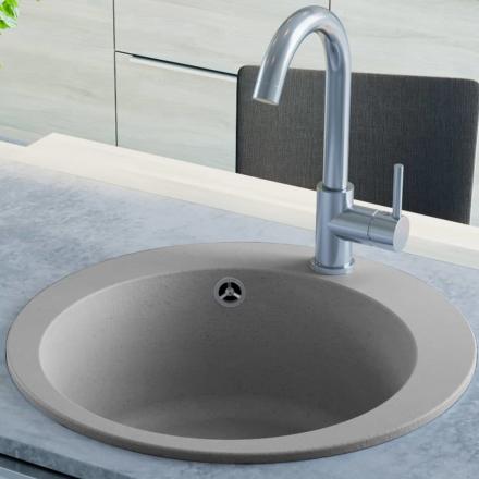 vidaXL køkkenvask i granit enkelt vask rund grå