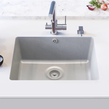 vidaXL køkkenvask i granit enkelt vask grå