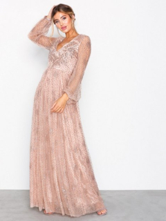 NLY Eve Sprinkle Glitter Gown Maxiklänningar Champagne