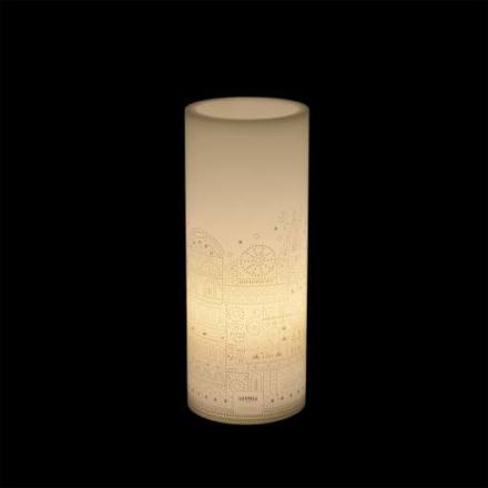 Tivoli LED Vokslys med Tivoli motiv, Medium, Hvit