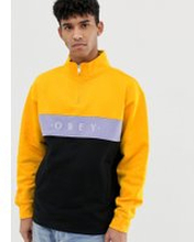 Obey Chelsea Fairtrade cotton half zip panel sweatshirt in yellow - Yellow