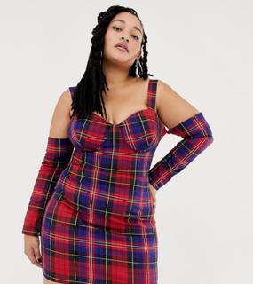 ASOS DESIGN x LaQuan Smith Curve off shoulder mini dress in check print-Multi