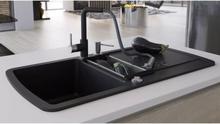 vidaXL køkkenvask dobbelt vask granit sort