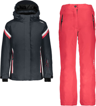 CMP Girl Set Jacket+Pant Barn skijakker fôrede Sort 116