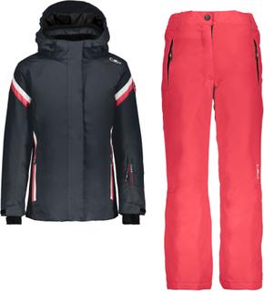 CMP Girl Set Jacket+Pant Barn skijakker fôrede Sort 116