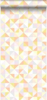 Origin HD non woven-tapet trianglar ljus pastellfärgad rosa färg, ljus pastellfärgad orange, ljus pastellgul, ljus varm grå och ljust glänsande g