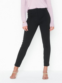 Selected Femme Slfilue Mw Pintuck Slit Pant Black