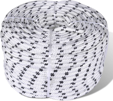 vidaXL Båtlina flätad 12 mm x 250 m polyester vit
