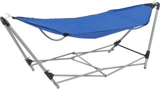 vidaXL hængekøje med foldbart stativ blå