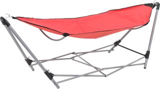 vidaXL hængekøje med foldbart stativ rød