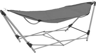 vidaXL hængekøje med foldbart stativ grå