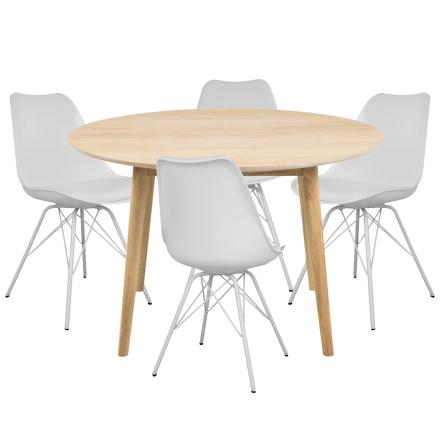 Essgruppe | Esstisch Eiche Rund mit 4 Stühlen Weiß - Carlos & Comfort