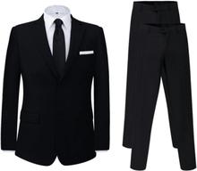 Vidaxl tvådelad herrkostym med extra byxor svart strl. 48