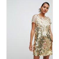 French Connection - Miniklänning med runda paljetter - Guld